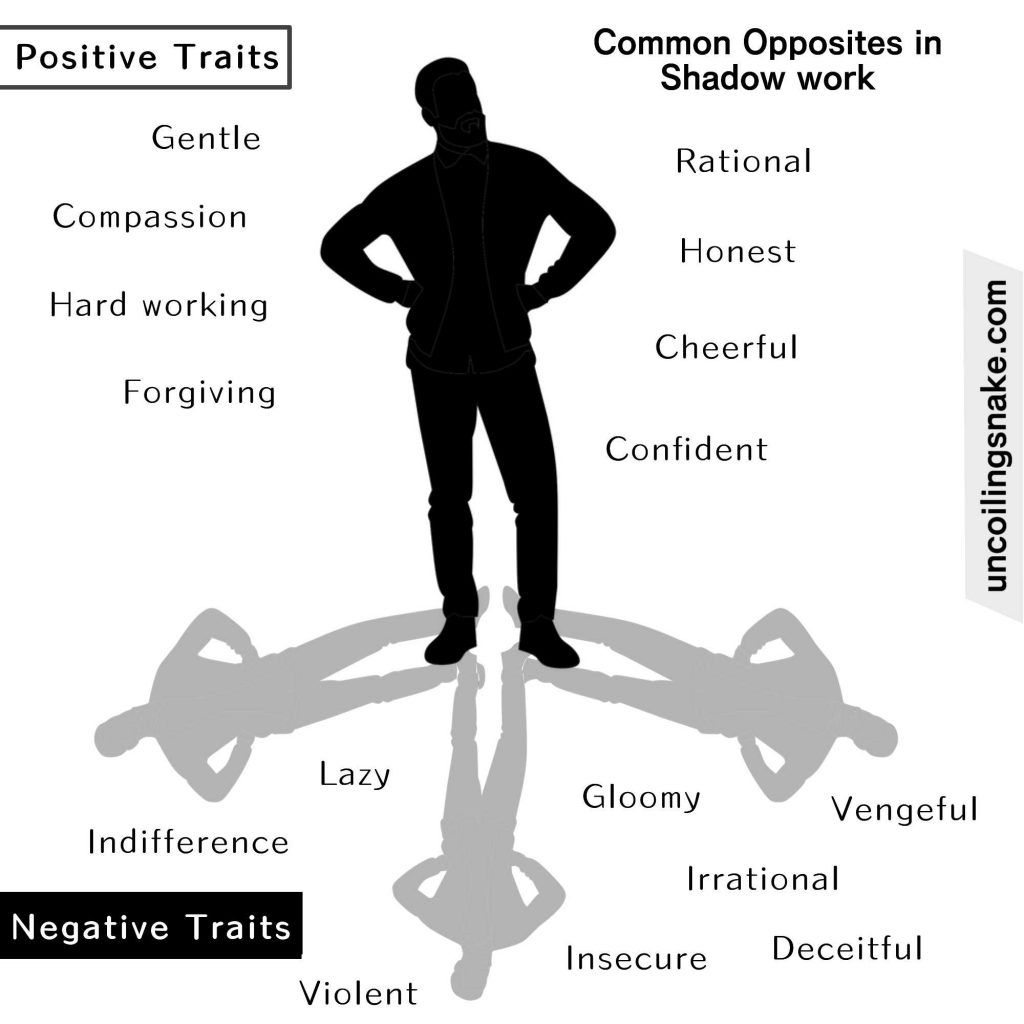 Infographic about Shadow work and opposite traits to help with self awareness